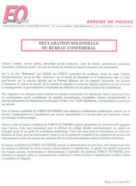 Déclaration  solenelle du bureau confédéral